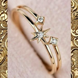 Sz 7  Golden Star Crystal Ring